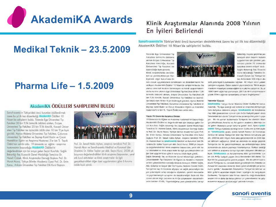 9 AkademiKA Awards Medikal Teknik – 23.5.2009 Pharma Life – 1.5.2009