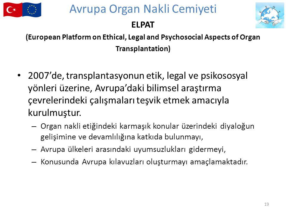2007'de, transplantasyonun etik, legal ve psikososyal yönleri üzerine, Avrupa'daki bilimsel araştırma çevrelerindeki çalışmaları teşvik etmek amacıyla