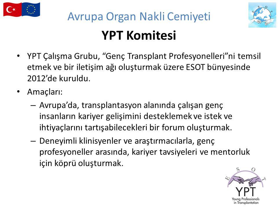 """YPT Çalışma Grubu, """"Genç Transplant Profesyonelleri""""ni temsil etmek ve bir iletişim ağı oluşturmak üzere ESOT bünyesinde 2012'de kuruldu. Amaçları: –"""