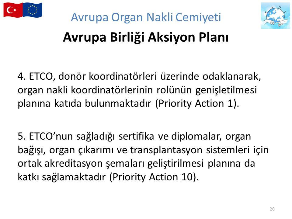 4. ETCO, donör koordinatörleri üzerinde odaklanarak, organ nakli koordinatörlerinin rolünün genişletilmesi planına katıda bulunmaktadır (Priority Acti