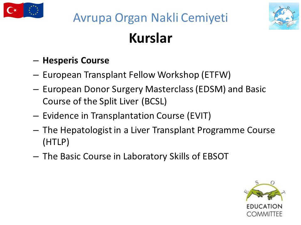 – Hesperis Course – European Transplant Fellow Workshop (ETFW) – European Donor Surgery Masterclass (EDSM) and Basic Course of the Split Liver (BCSL)