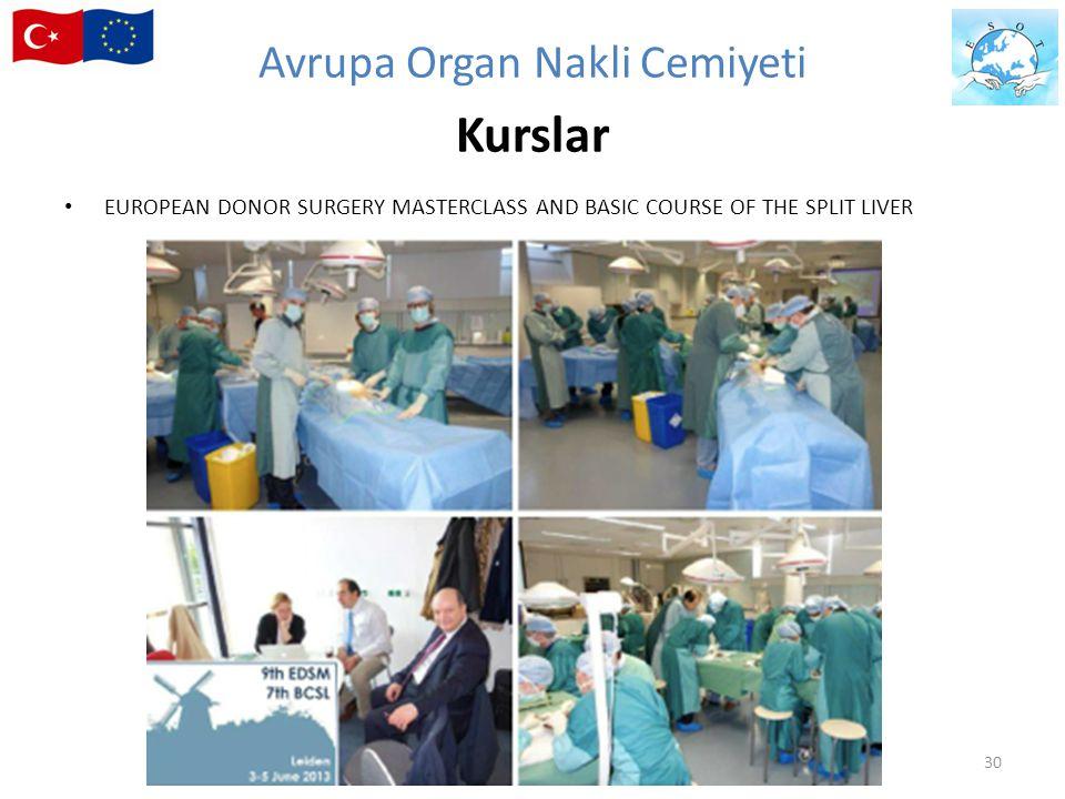 30 EUROPEAN DONOR SURGERY MASTERCLASS AND BASIC COURSE OF THE SPLIT LIVER Avrupa Organ Nakli Cemiyeti Kurslar