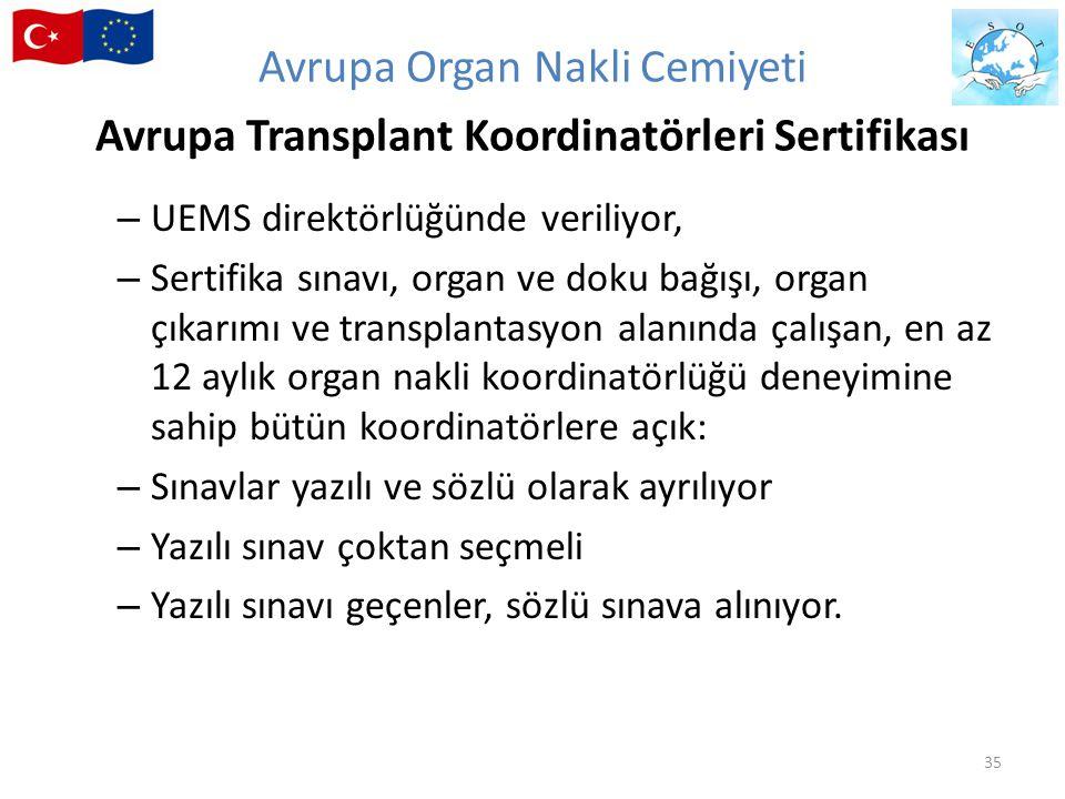 – UEMS direktörlüğünde veriliyor, – Sertifika sınavı, organ ve doku bağışı, organ çıkarımı ve transplantasyon alanında çalışan, en az 12 aylık organ n