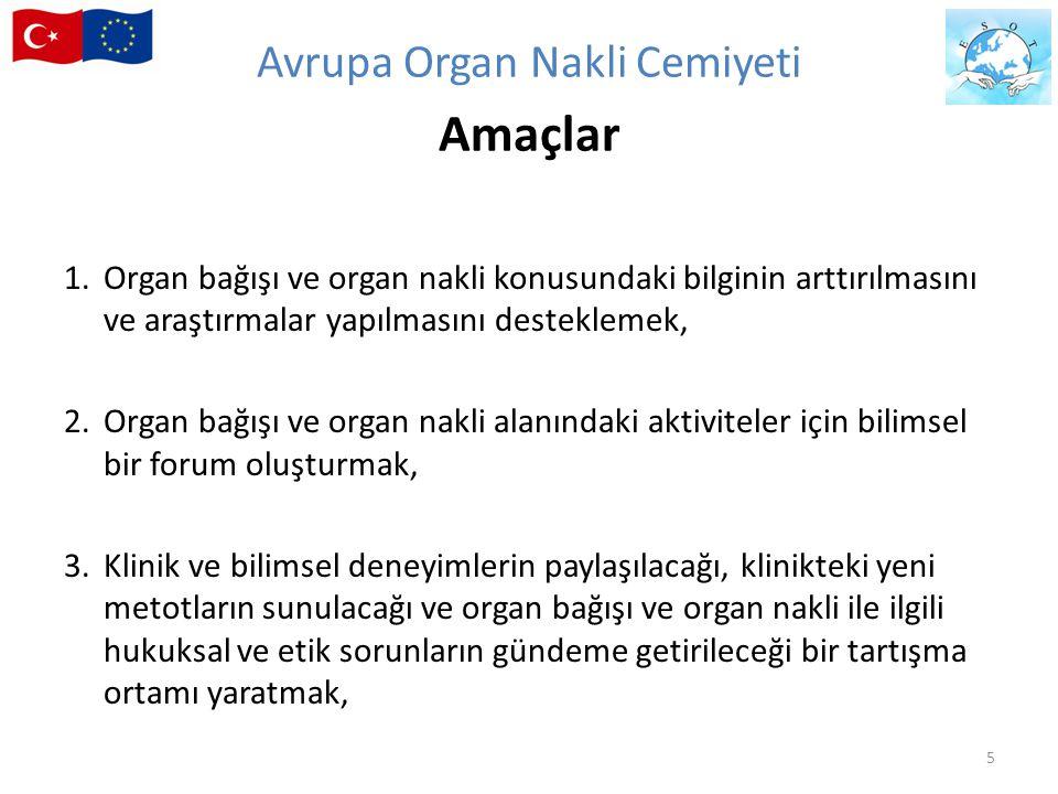 4.Çok merkezli çalışmaları planlamak ve yürütmek, 5.Organ dağıtımı konusunda, organ bağışı ve organ nakli ile ilgili diğer organizasyonlar ve yetkililer ile işbirliği yapmak, 6.Organ nakli eğitimine katkıda bulunmak, 7.Organ bağışı ve organ nakli ile ilgili kalite kılavuzlarına katkıda bulunmak.