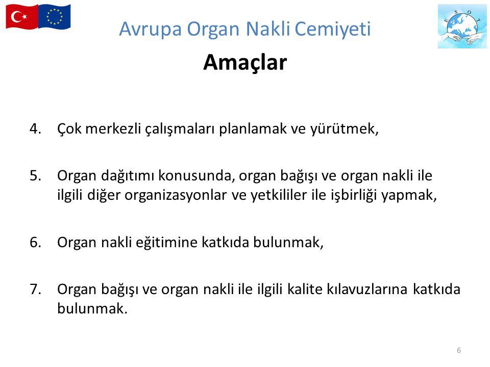 4.Çok merkezli çalışmaları planlamak ve yürütmek, 5.Organ dağıtımı konusunda, organ bağışı ve organ nakli ile ilgili diğer organizasyonlar ve yetkilil