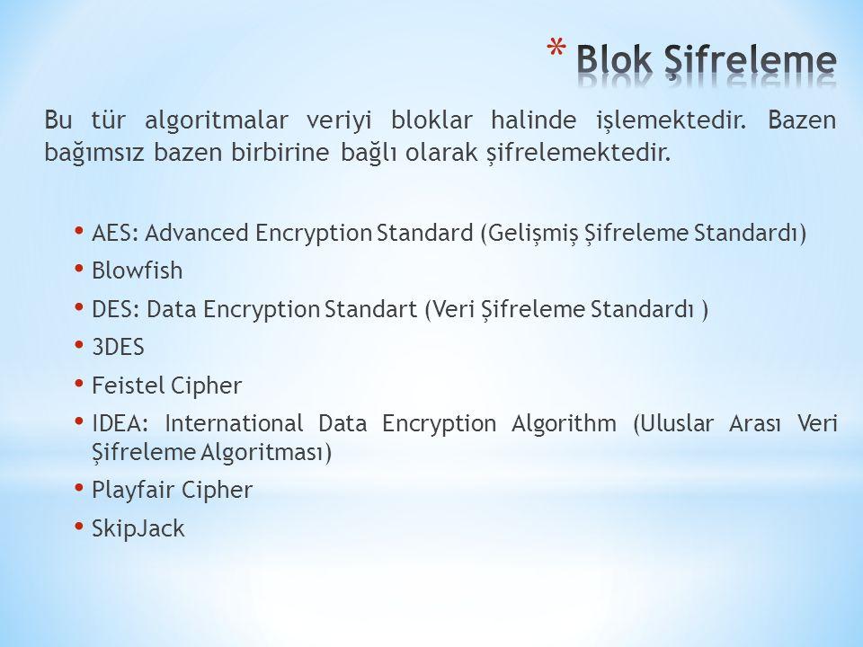 Bu tür algoritmalar veriyi bloklar halinde işlemektedir. Bazen bağımsız bazen birbirine bağlı olarak şifrelemektedir. AES: Advanced Encryption Standar