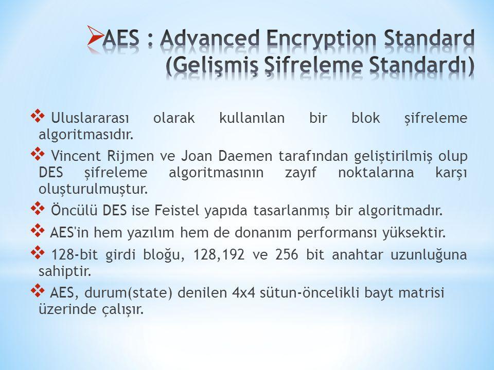  Uluslararası olarak kullanılan bir blok şifreleme algoritmasıdır.  Vincent Rijmen ve Joan Daemen tarafından geliştirilmiş olup DES şifreleme algori