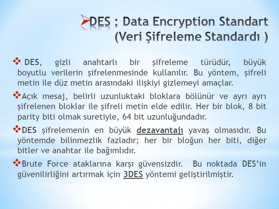  DES, gizli anahtarlı bir şifreleme türüdür, büyük boyutlu verilerin şifrelenmesinde kullanılır. Bu yöntem, şifreli metin ile düz metin arasındaki il