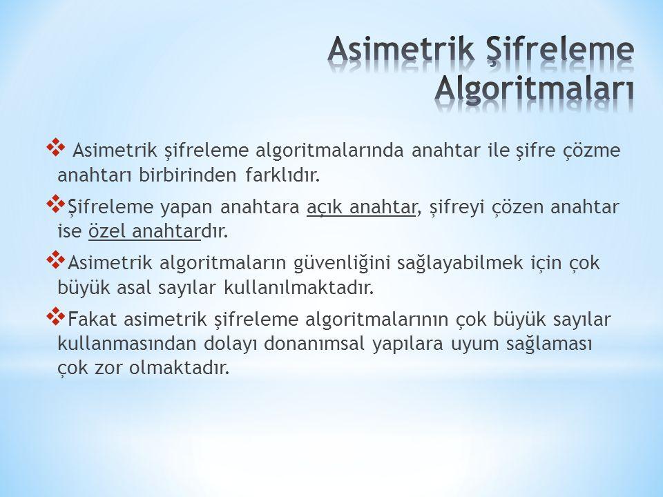  Asimetrik şifreleme algoritmalarında anahtar ile şifre çözme anahtarı birbirinden farklıdır.  Şifreleme yapan anahtara açık anahtar, şifreyi çözen