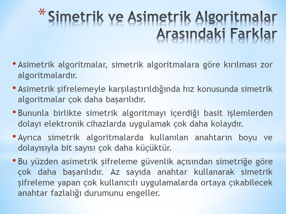 Asimetrik algoritmalar, simetrik algoritmalara göre kırılması zor algoritmalardır. Asimetrik şifrelemeyle karşılaştırıldığında hız konusunda simetrik