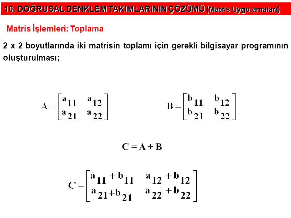Örnek : Option Base 1 Dim a(2, 2), b(2, 2), c(2, 2) As Integer Private Sub Form_Load() a(1, 1) = 1: a(1, 2) = 2 a(2, 1) = 3: a(2, 2) = 4 b(1, 1) = 5: b(1, 2) = 6 b(2, 1) = 7: b(2, 2) = 8 Command1.Caption = Matrisleri Topla End Sub Private Sub Command1_Click() For i = 1 To 2 For j = 1 To 2 c(i, j) = a(i, j) + b(i, j) Print c(i, j), Next j Print Next i End Sub