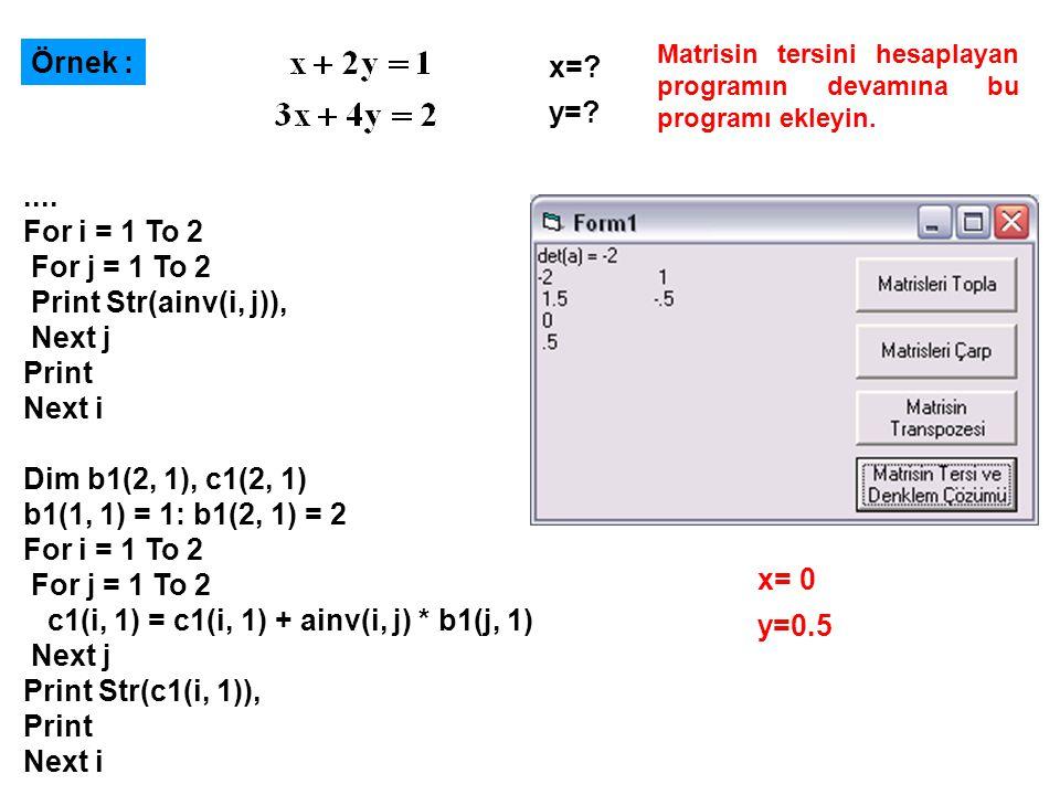 Örnek : x=.y=?....