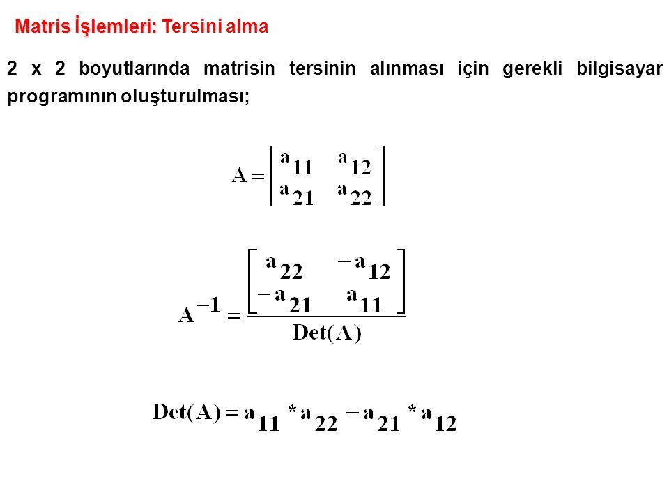 2 x 2 boyutlarında matrisin tersinin alınması için gerekli bilgisayar programının oluşturulması; Matris İşlemleri: Matris İşlemleri: Tersini alma