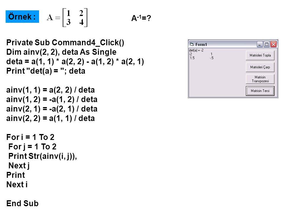 Lineer Denklem Takımlarının Çözümü Lineer Denklem Takımlarının Çözümü x y 2 bilinmeyenli bir lineer denklem takımının çözümü için gerekli bilgisayar programının oluşturulması;