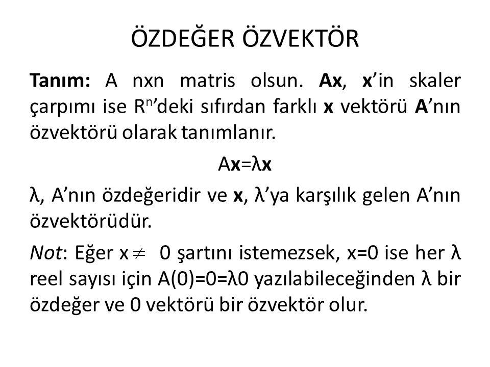 ÖZDEĞER ÖZVEKTÖR Tanım: A nxn matris olsun. Ax, x'in skaler çarpımı ise R n 'deki sıfırdan farklı x vektörü A'nın özvektörü olarak tanımlanır. Ax=λx λ