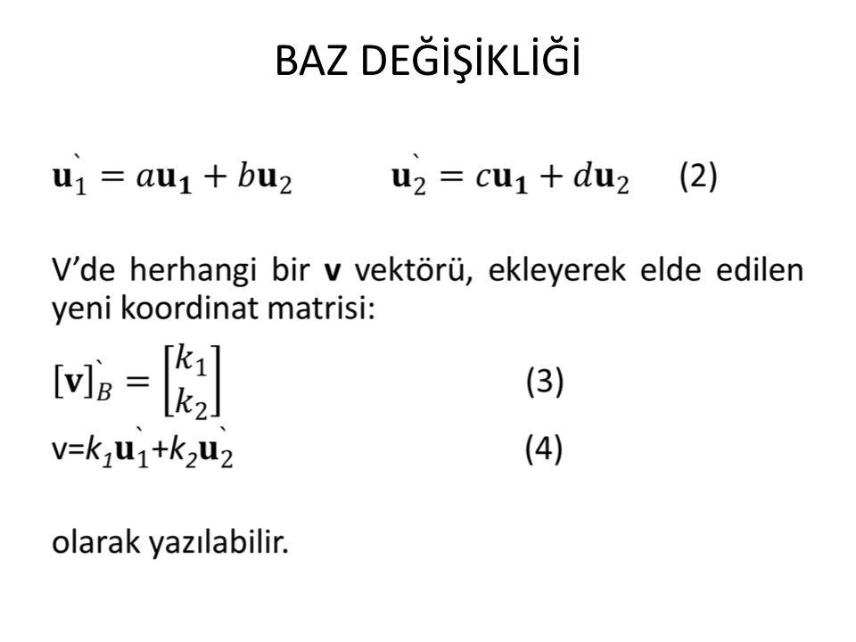 BAZ DEĞİŞİKLİĞİ v'nin eski koordinatlarını bulmak için, eski baz B açısından v ifade edilebilmelidir.