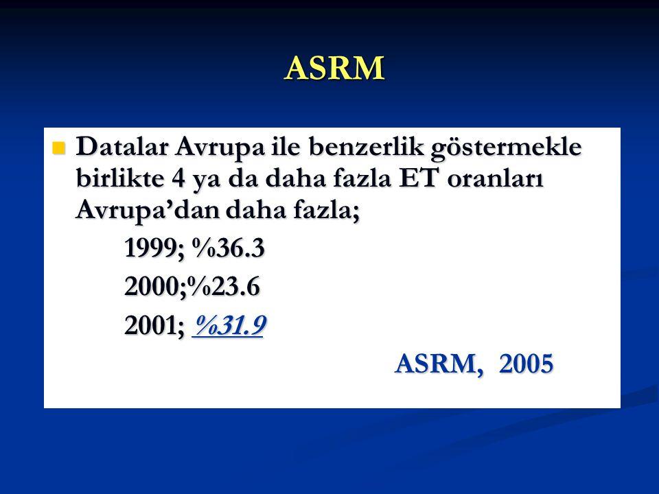 ASRM Datalar Avrupa ile benzerlik göstermekle birlikte 4 ya da daha fazla ET oranları Avrupa'dan daha fazla; Datalar Avrupa ile benzerlik göstermekle