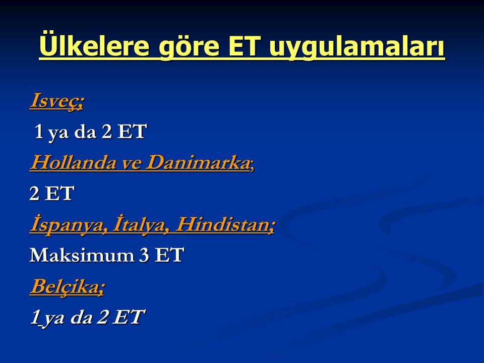 Ülkelere göre ET uygulamaları Isveç; 1 ya da 2 ET 1 ya da 2 ET Hollanda ve Danimarka; 2 ET İspanya, İtalya, Hindistan; Maksimum 3 ET Belçika; 1 ya da