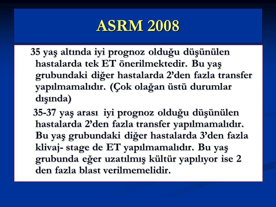 ASRM 2008 35 yaş altında iyi prognoz olduğu düşünülen hastalarda tek ET önerilmektedir. Bu yaş grubundaki diğer hastalarda 2'den fazla transfer yapılm