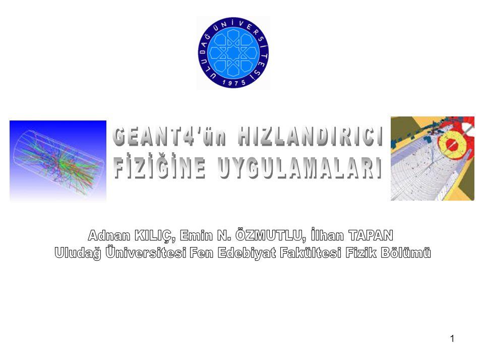 2 Geant4'ün Yapısı Hızlandırıcı Fiziğinde Kullanılan Geant4 tabanlı Programlar Hakkında Bilgi G4Beamline G4MICE BDSIM Uygulama Alanları Hakkında Bilgi