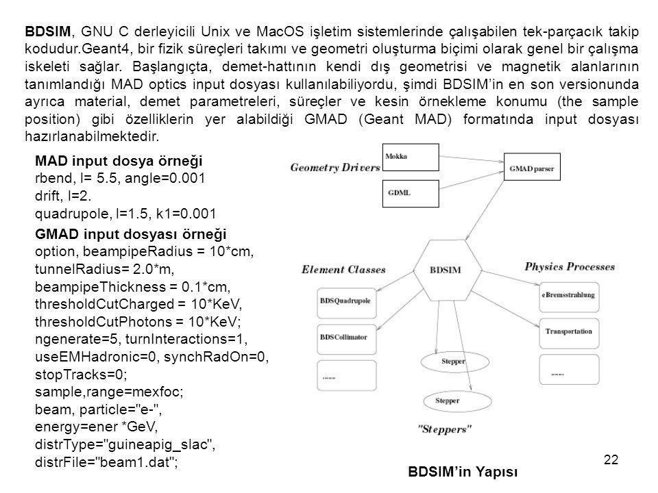 22 BDSIM, GNU C derleyicili Unix ve MacOS işletim sistemlerinde çalışabilen tek-parçacık takip kodudur.Geant4, bir fizik süreçleri takımı ve geometri oluşturma biçimi olarak genel bir çalışma iskeleti sağlar.