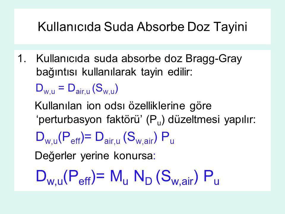 Kullanıcıda Suda Absorbe Doz Tayini 1.Kullanıcıda suda absorbe doz Bragg-Gray bağıntısı kullanılarak tayin edilir: D w,u = D air,u (S w,u ) Kullanılan