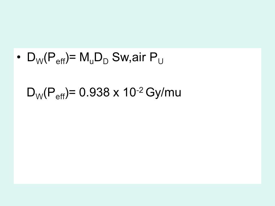 D W (P eff )= M u D D Sw,air P U D W (P eff )= 0.938 x 10 -2 Gy/mu