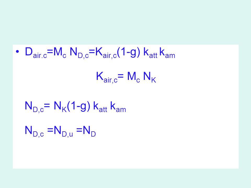 N D,c = N K (1-g) k att k am N D,c = İon odasındaki havada absorbe doz kalibrasyon faktörü N K = SSDL'den sağlanan hava kerma kal.