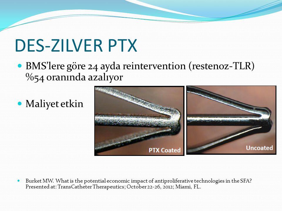 DES-ZILVER PTX BMS'lere göre 24 ayda reintervention (restenoz-TLR) %54 oranında azalıyor Maliyet etkin Burket MW. What is the potential economic impac