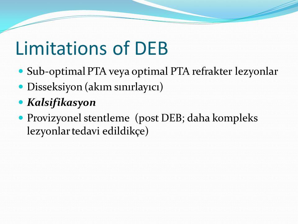 Limitations of DEB Sub-optimal PTA veya optimal PTA refrakter lezyonlar Disseksiyon (akım sınırlayıcı) Kalsifikasyon Provizyonel stentleme (post DEB; daha kompleks lezyonlar tedavi edildikçe)