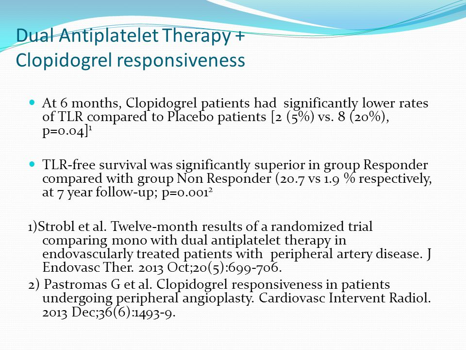 Dual Antiplatelet Therapy + Clopidogrel responsiveness At 6 months, Clopidogrel patients had significantly lower rates of TLR compared to Placebo patients [2 (5%) vs.