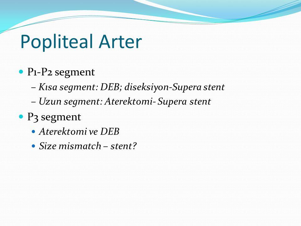 Popliteal Arter P1-P2 segment – Kısa segment: DEB; diseksiyon-Supera stent – Uzun segment: Aterektomi- Supera stent P3 segment Aterektomi ve DEB Size mismatch – stent?