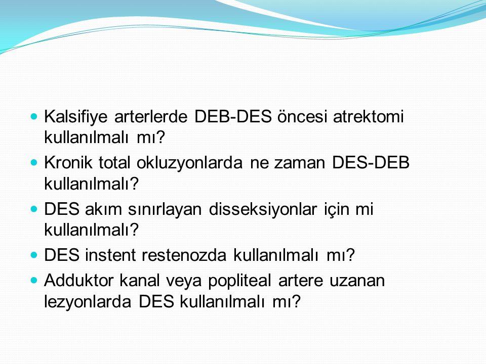 Kalsifiye arterlerde DEB-DES öncesi atrektomi kullanılmalı mı? Kronik total okluzyonlarda ne zaman DES-DEB kullanılmalı? DES akım sınırlayan disseksiy