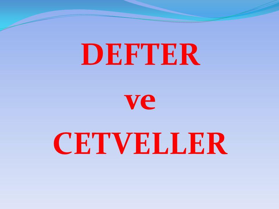 DEFTER ve CETVELLER