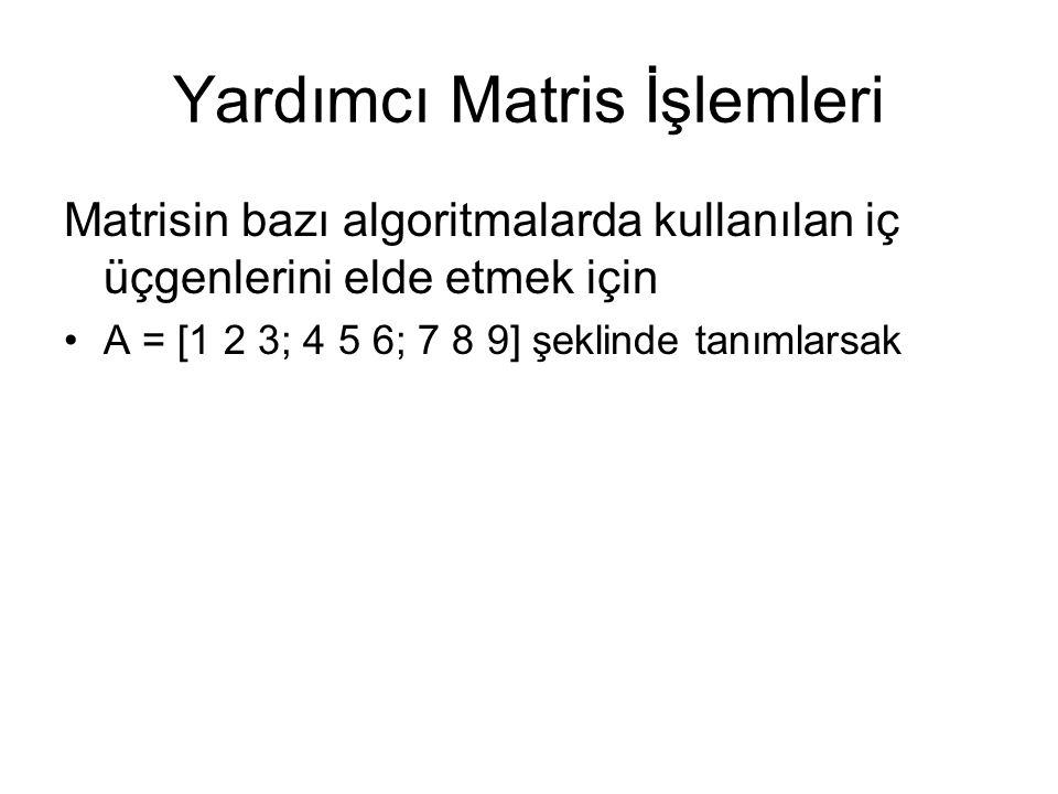 ÖRNEKLER - Temel Matris İşlemleri A = [1 2 3; 4 5 6; 7 8 9] şeklinde tanımlarsak Size(A) ans = 3 3 det(A) Ans =