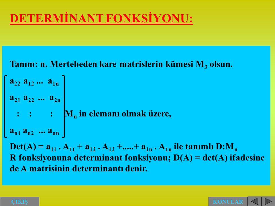 DETERMİNANT FONKSİYONU: Tanım: n. Mertebeden kare matrislerin kümesi M 3 olsun. a 22 a 12... a 1n a 21 a 22... a 2n : : :M n in elemanı olmak üzere, a