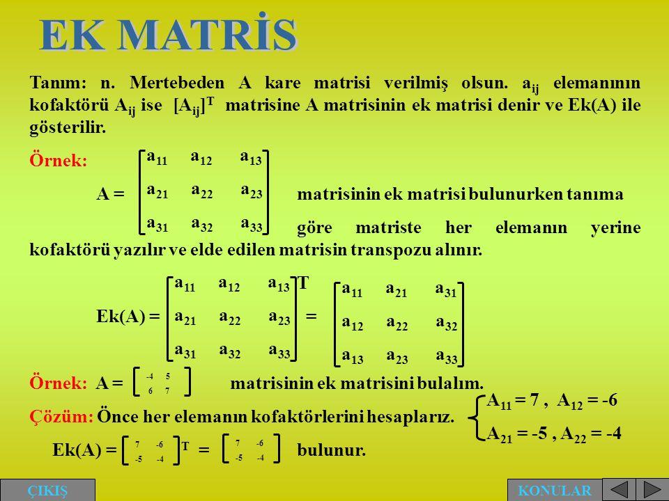 Tanım: n. Mertebeden A kare matrisi verilmiş olsun. a ij elemanının kofaktörü A ij ise [A ij ] T matrisine A matrisinin ek matrisi denir ve Ek(A) ile