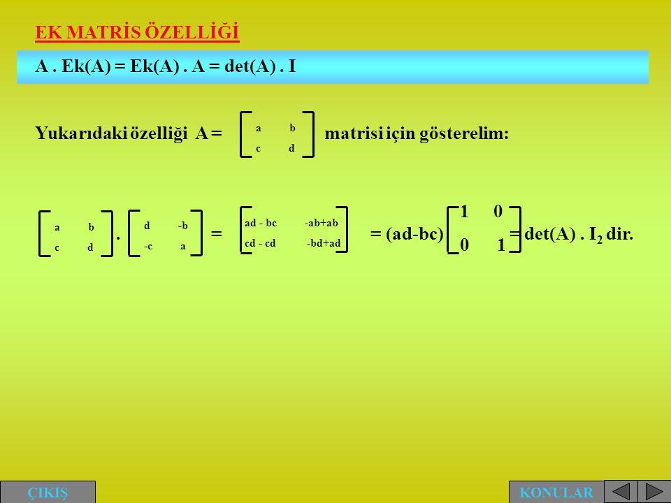 EK MATRİS ÖZELLİĞİ A. Ek(A) = Ek(A). A = det(A). I Yukarıdaki özelliği A = matrisi için gösterelim:. == (ad-bc) = det(A). I 2 dir. a b c d a b c d d -