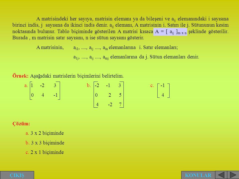 A matrisindeki her sayıya, matrisin elemanı ya da bileşeni ve a ij elemanındaki i sayısına birinci indis, j sayısına da ikinci indis denir. a ij elema