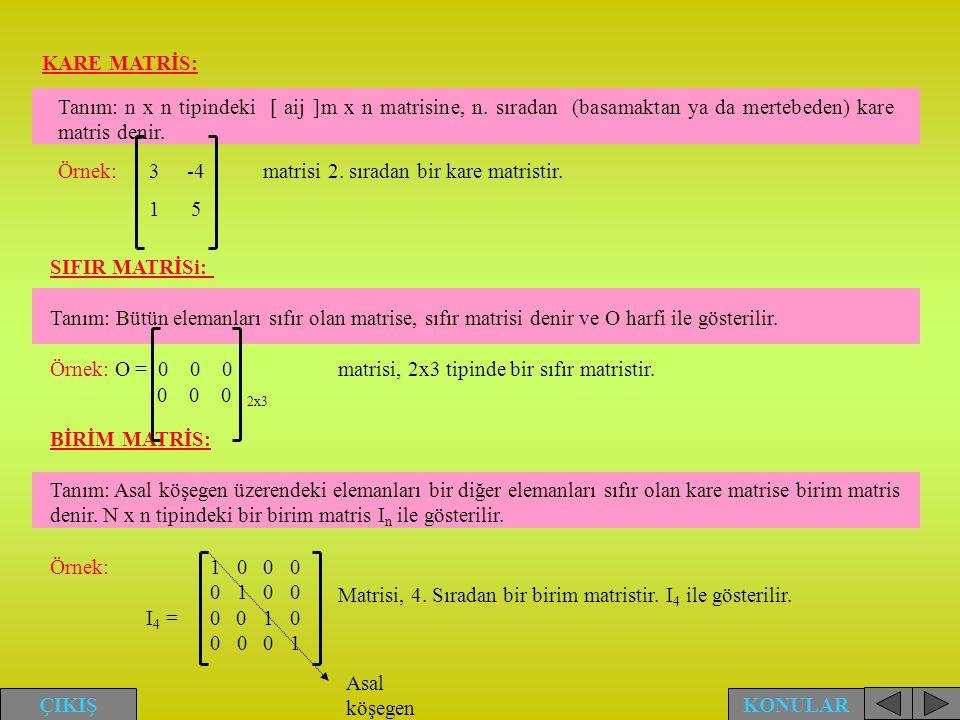 KARE MATRİS: Tanım: n x n tipindeki [ aij ]m x n matrisine, n. sıradan (basamaktan ya da mertebeden) kare matris denir. Örnek: 3 -4 matrisi 2. sıradan