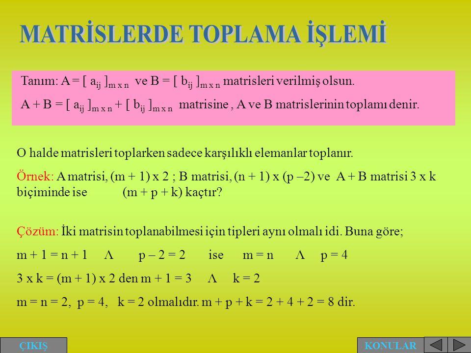 Tanım: A = [ a ij ] m x n ve B = [ b ij ] m x n matrisleri verilmiş olsun. A + B = [ a ij ] m x n + [ b ij ] m x n matrisine, A ve B matrislerinin top