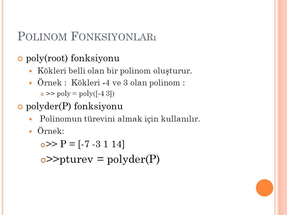 P OLINOM F ONKSIYONLARı poly(root) fonksiyonu Kökleri belli olan bir polinom oluşturur.