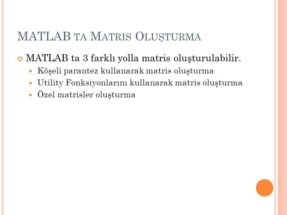 MATLAB TA M ATRIS O LUŞTURMA MATLAB ta 3 farklı yolla matris oluşturulabilir.