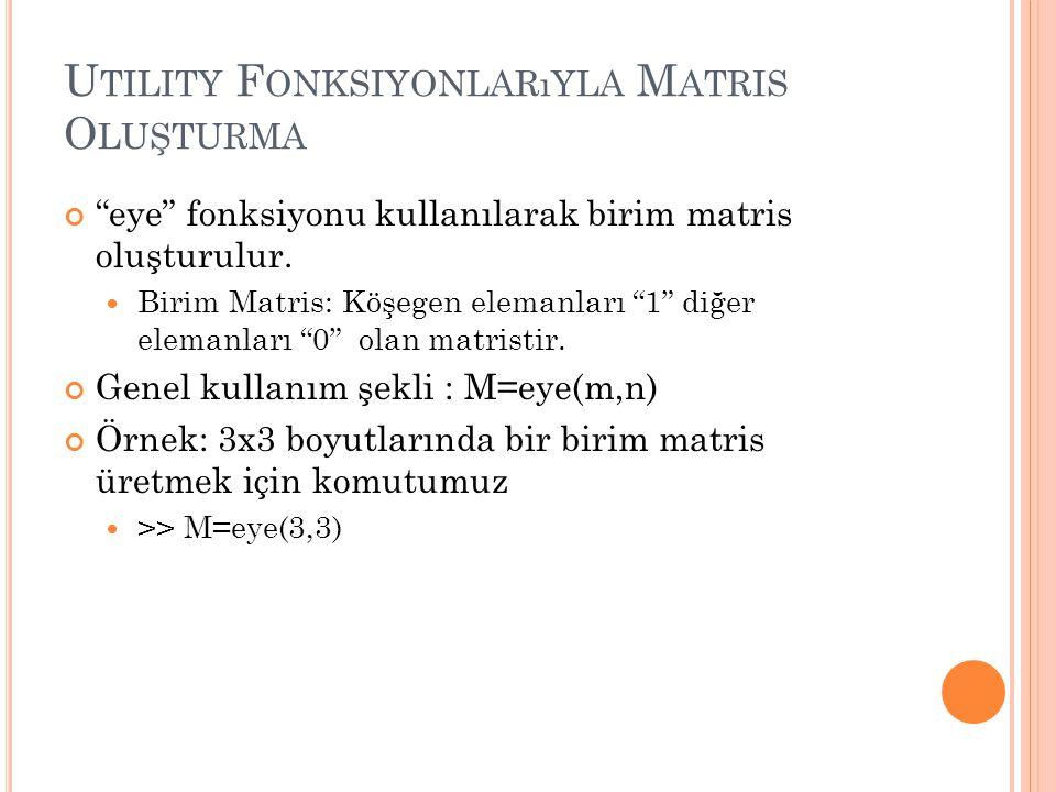 U TILITY F ONKSIYONLARıYLA M ATRIS O LUŞTURMA eye fonksiyonu kullanılarak birim matris oluşturulur.