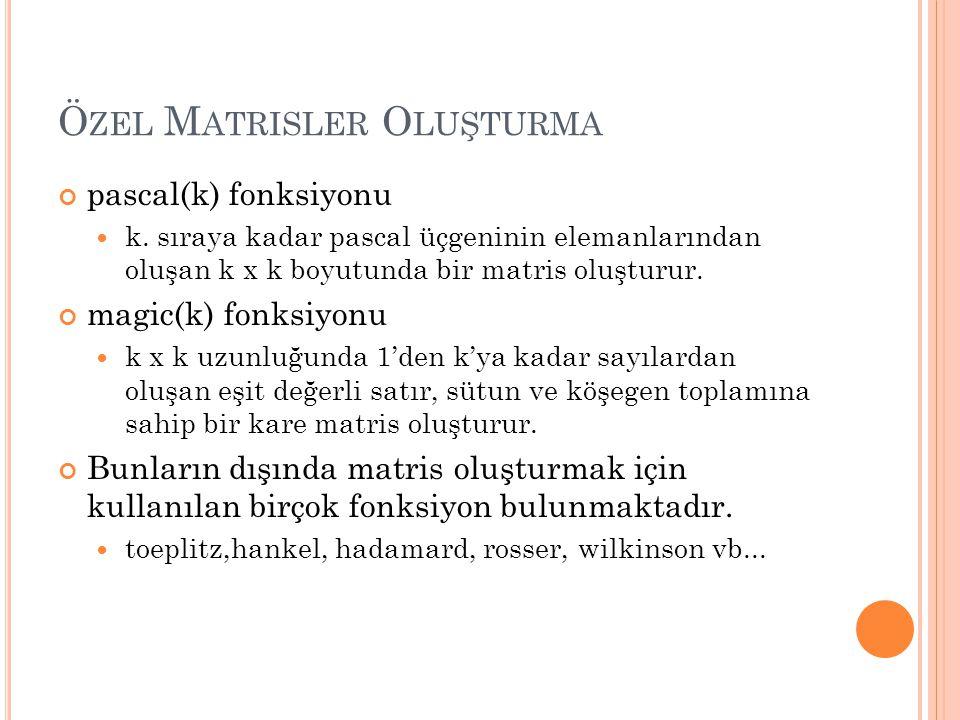 Ö ZEL M ATRISLER O LUŞTURMA pascal(k) fonksiyonu k.