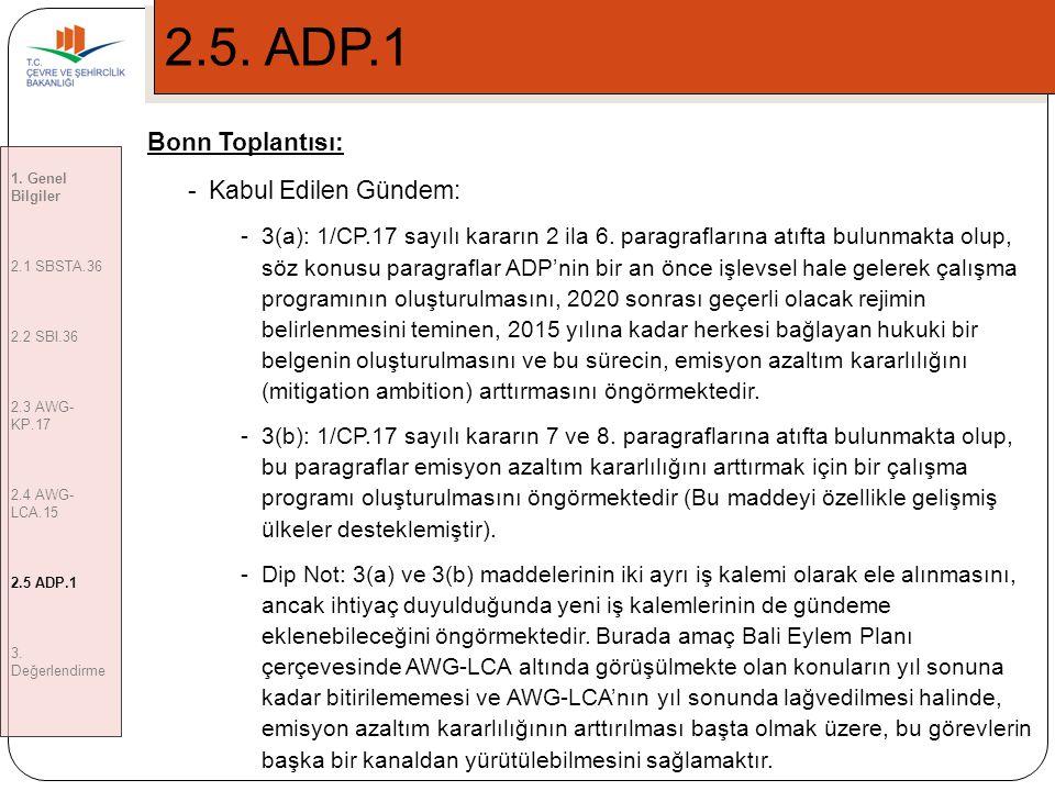 12 2.5.ADP.1 Bonn Toplantısı: -Kabul Edilen Gündem: -3(a): 1/CP.17 sayılı kararın 2 ila 6.