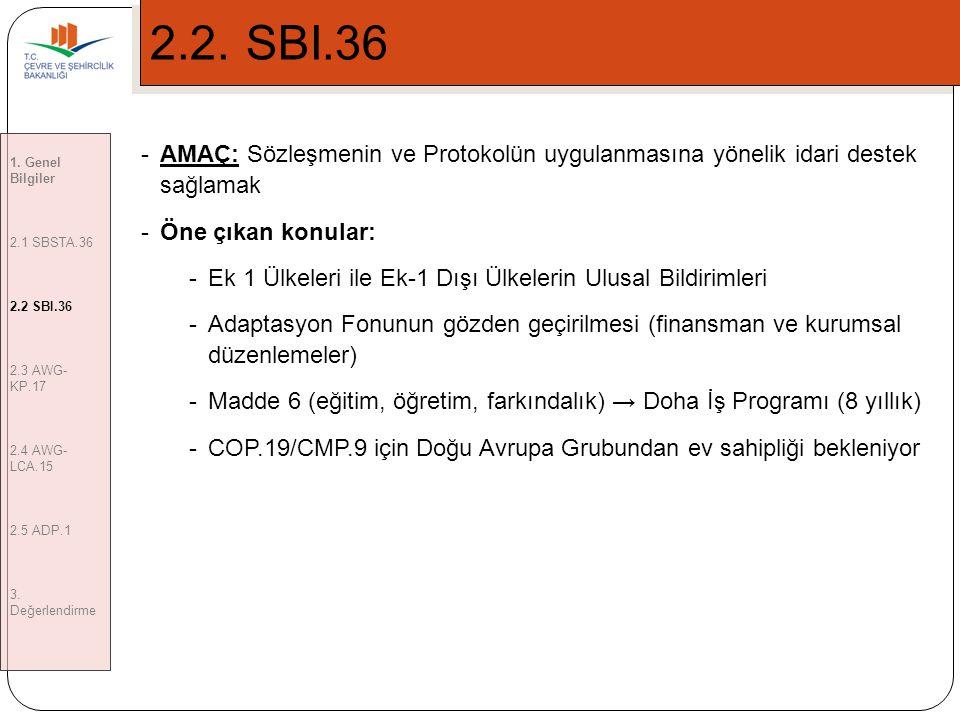 5 2.2.SBI.36 1.Genel Bilgiler 2.1 SBSTA.36 2.2 SBI.36 2.3 AWG- KP.17 2.4 AWG- LCA.15 2.5 ADP.1 3.