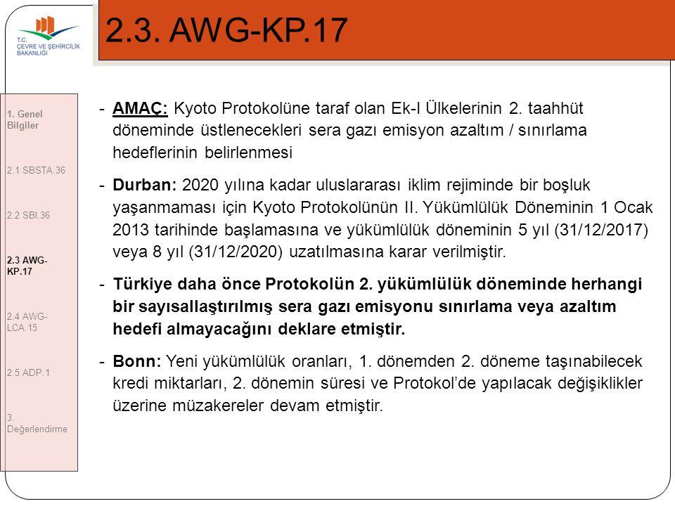 6 2.3.AWG-KP.17 -AMAÇ: Kyoto Protokolüne taraf olan Ek-I Ülkelerinin 2.