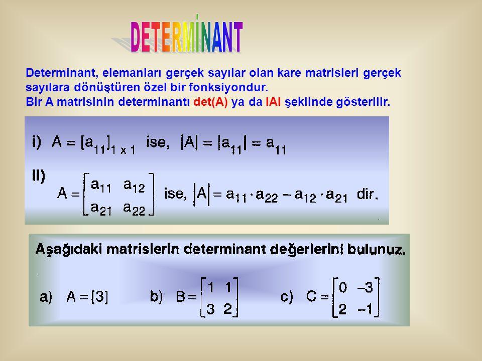 Determinant, elemanları gerçek sayılar olan kare matrisleri gerçek sayılara dönüştüren özel bir fonksiyondur. Bir A matrisinin determinantı det(A) ya