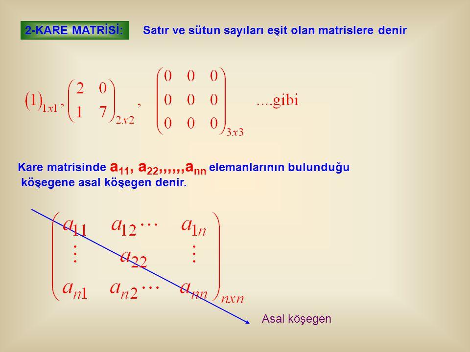 2-KARE MATRİSİ: Satır ve sütun sayıları eşit olan matrislere denir Kare matrisinde a 11, a 22,,,,,,a nn elemanlarının bulunduğu köşegene asal köşegen